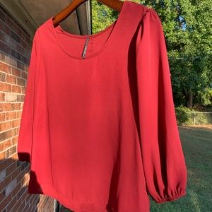 Burgundy Blouse Buttons Down The Back Medium